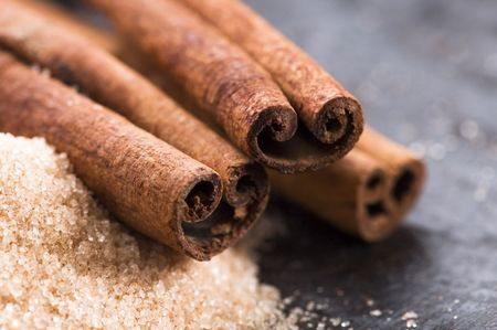 aromatic spices with brown sugar - cinnamon  photo