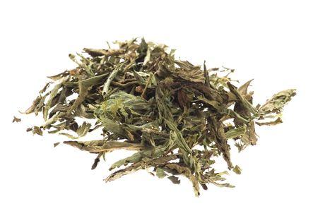 Dried Stevia Rebaudiana - natural sweetener isolated on white Stock Photo