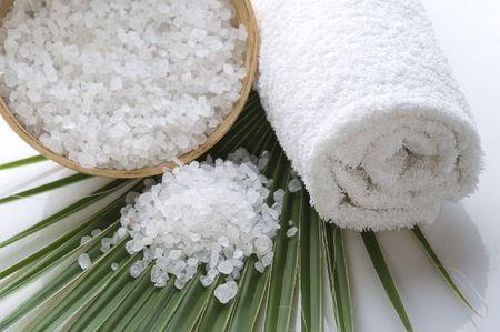 bath salt and palm leaf photo