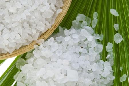 bath salt and the palm leaf Stock Photo - 8674573