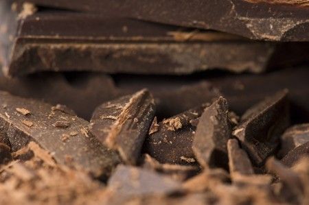 eating chocolate: chopped chocolate Stock Photo