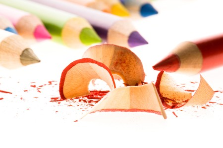 Sharpened pencils and wood shavings photo