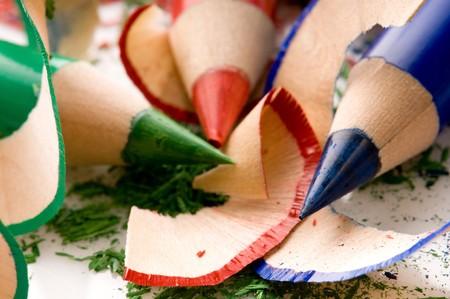 sharpenings: Sharpened pencils and wood shavings