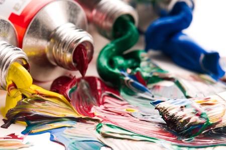 paleta de pintor: mezcla de pinturas. backrgound