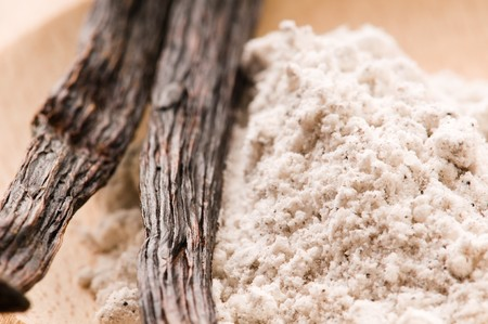 vanilla beans with aromatic sugar photo