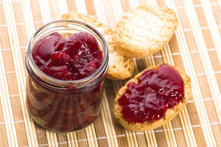 Breakfast of cherry jam on toast photo