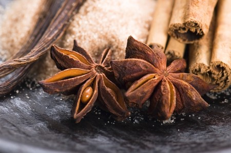 aromatic spices with brown sugar photo