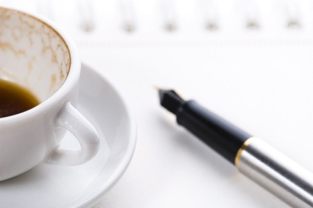 no concept. blank page, empty cup of coffe photo
