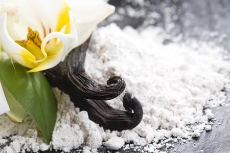 habas de vainilla con azúcar aromático y flor  Foto de archivo
