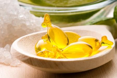 lemon bath - bath salt, capsule and fresh fruits  photo
