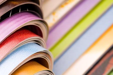 Stack of open magazines  photo