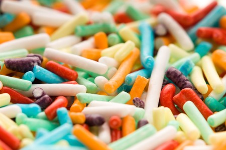 macro of rainbow sprinkles Stock Photo - 8178041