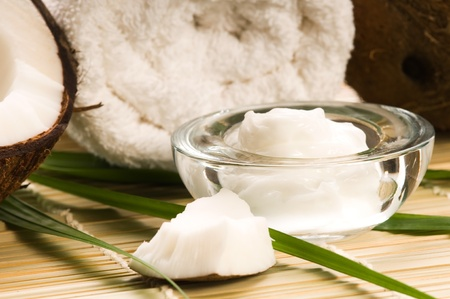 aromatherapy oils: Coconut and coconut oil  Stock Photo