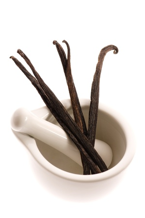 mortar with vanilla pods  photo