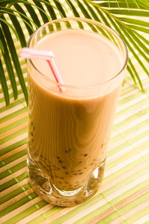 Pearl milk drink on white. Bubble tea photo