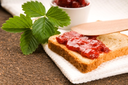 Wild strawberry jam with toast Stock Photo - 9820847