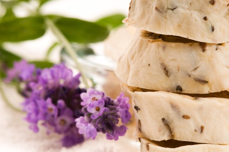 Handmade Soap With Fresh Lavender Flowers And Bath Salt Stock Photo - 9820813