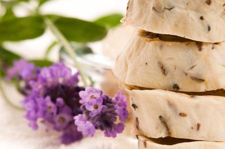 Handmade Soap With Fresh Lavender Flowers And Bath Salt Stock Photo - 9820813