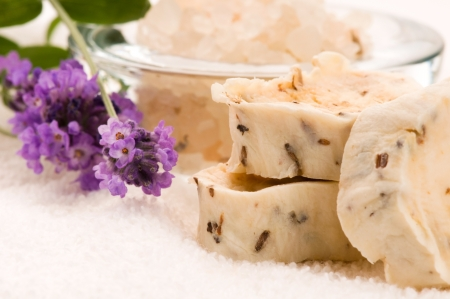 Handmade Soap With Fresh Lavender Flowers And Bath Salt Stock Photo