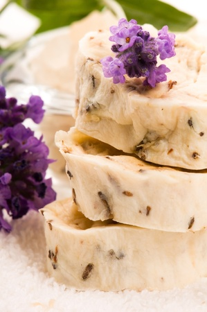 Handmade Soap With Fresh Lavender Flowers And Bath Salt photo