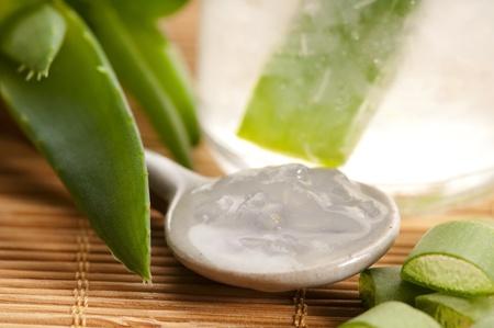 plantas medicinales: jugo de Aloe vera con hojas frescas Foto de archivo