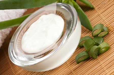 aloe vera - leaves and cream isolated on white background  photo