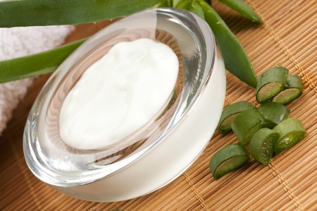 skincare products: aloe vera - leaves and cream isolated on white background