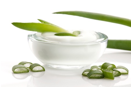 ingredient: aloe vera - leaves and cream isolated on white background