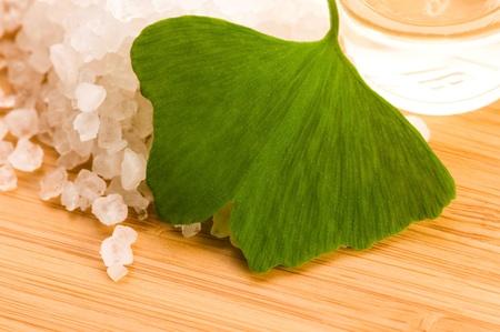 fresh leaves ginko biloba essential oil and sea salt - beauty treatment Stock Photo