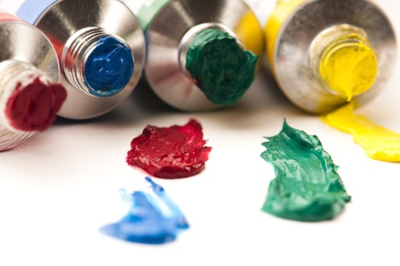paints on the white paper photo