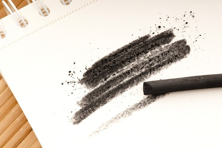 Artist's black charcoal with smudge Stock Photo - 10378911