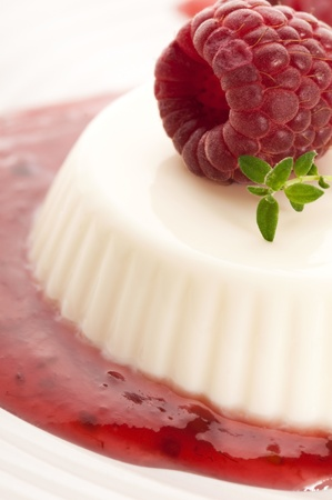 Vanilla panna cotta with berry sauce photo