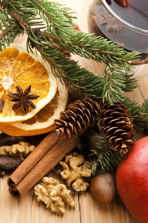christmas scent: Different kinds of spices, nuts and dried oranges - christmas decoration Stock Photo