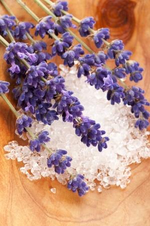 Soap With Fresh Lavender Flowers And Bath Salt photo