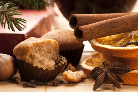 Freshly baked muffins with difrens kind of spieces - christmas decoration photo