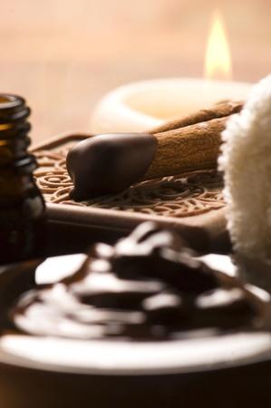 Chocolate spa with cinnamon photo