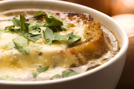 French onion soup with ingredients photo
