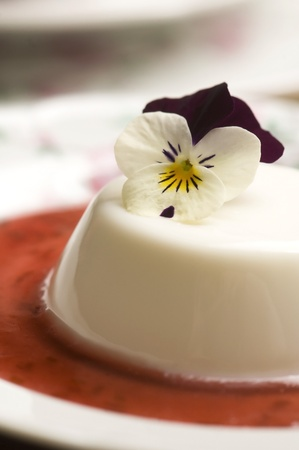 Vanilla panna cotta with berry sauce and spring flower photo