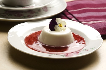 Vanilla panna cotta with berry sauce and spring flower Stock Photo - 13105068