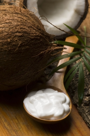 with coconut: Coconut and coconut oil  Stock Photo