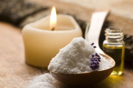 body scrub: Soap With Fresh Lavender Flowers And Bath Salt Stock Photo