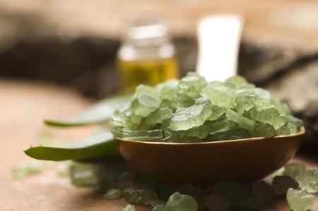 Aloe vera with bath salt and massage oil Stock Photo - 13430178
