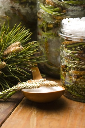 Natural medicine - syrup made of pine sprouts  photo