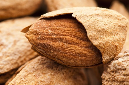 kernel: Sweet almonds with kernel  Stock Photo