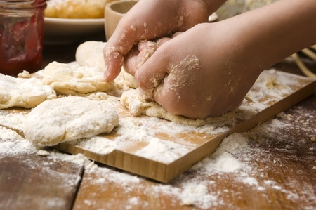 Detail of hands kneading dough Stock Photo - 13598580