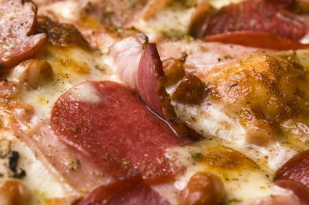 Italian pizza with bacon, salami and mozzarella cheese Stock Photo - 13911081