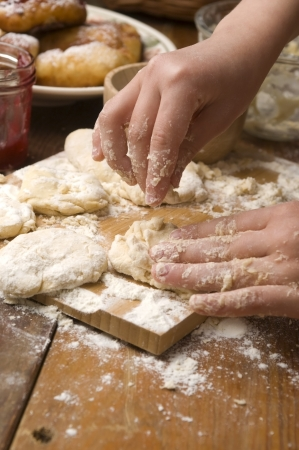 Detail of hands kneading dough Stock Photo - 14260914