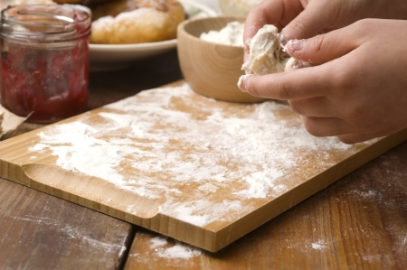 Detail of hands kneading dough Stock Photo - 14260922
