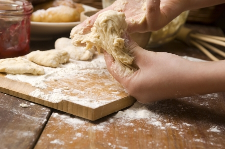 Detail of hands kneading dough Stock Photo - 14262415