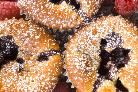 Raspberry cookies with fresh fruits photo